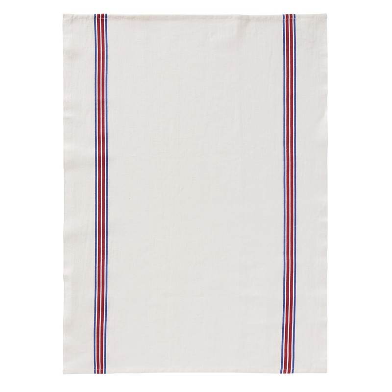 Tea towel, blue and red stripe