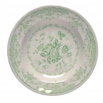 Set of 6 soup plates green roses